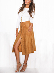 Front Buttons Midi Skirt with Side Pockets