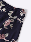 Navy Sexy Off Shoulder Random Floral Print Dress