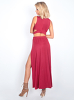 Burgundy Sleeveless V-neck Cutout Crop Top and Maxi Splited Skirt Co-ord