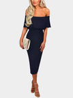 Navy Off Shoulder Layered Body-con Sexy Dress