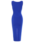Blue Fashion Round Neck Zip Front Bodycon Cami Dress