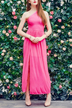 One Shoulder Sleeveless Plain Color Maxi Dress