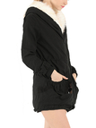 Black Two Big Pockets Loose Padded Outerwear with Hood