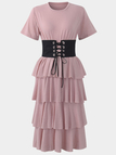 Tiered Design Corset T-shirt Dress in Pink