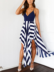 Stripe Pattern Criss Cross Back V-neck Backless Dress