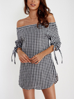 Off Shoulder Grid Pattern Knot Sleeves Causal Dress