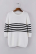 Stripe Loose Jumper in White