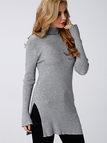 Grey High Neck Long Sleeve Side Split Plain T-shirts