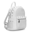 White Leather-look Backpack with Rivet Design