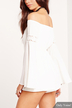 White Off-shoulder Tie Front Detail Lace Side Flared Sleeve Playsuit