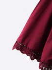 Off-the-shouder Delicate Lace Mini Dress in Burgundy