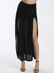 Black Retro Front Slit Sexy Beach Skirt