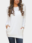 White Cozy Round Neck Side Pockets Top
