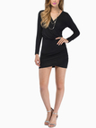 Black Plunge V-Neck Wrap Mini Dress