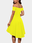 Yellow Sexy Off Shoulder Irregular Hem Dress