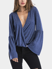 Blue Crossed Front Design Deep V Neck Long Sleeves Blouses