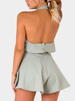 Fashion Halter Cut Out Sleeveless Backless Playsuit