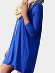 Blue Casual Long Sleeves Mini Dress