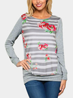 Grey Floral Print Round Neck Long Sleeves T-shirt