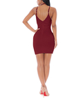 Burgundy Deep V Neck Lace-up Dress