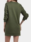 Army Green Swearshirt With Casual Long Sleeves
