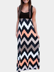 Colorful Wavy Print Sleeveless Maxi Dress