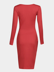 Red V-neck Long Sleeves Dress With Slit Hem