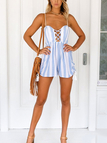 Sexy Criss-Cross Backless Stripe Playsuits