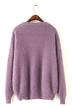 Fluffy Long Sleeve Knit Sweater in Purple