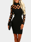 Black Casual Bodycon Round Neck Hollow Design Mini Dress