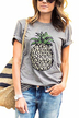 Round Neck Pineapple Print Tees in Grey