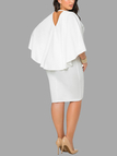 Plus Size White Bat Sleeves Cape Dress