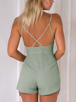 Fashion Deep V-Neck Sleeveless High-waist Playsuit With Shoulder Straps in Green