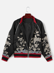 Fashion Embroidery Long Sleeved Jacket In Black