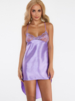 Purple Sexy Deep V-neck Hollow Out Lace Detail Pajama Set with T-back