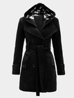 Black Double-breasted Self-tie Waist Hooded Fashion Coat