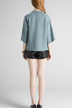 Blue Open Front Raglan Sleeve Cardigan with Eyelet Detail
