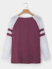 Plum Spell Color Round Neck Long Sleeves T-shirt