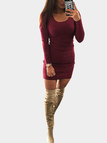 Burgundy Round Neck Bodycon Mini Dress