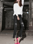Middle-waist Rips Details Flared Trousers