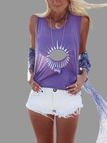 Cartoon Print Crew Neck Cami Top in Purple