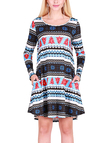 Blue Christmas Pattern Round Neck Long Sleeves Mini Dress
