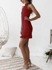 Red Lace Cut Out Design High Neck Sleeveless Dress