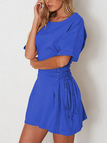 Blue Lace-up side Half Sleeves Mini Dress