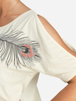 Apricot Feather Printing T-shirt With Cold Shoulder