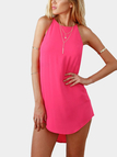 Fluorescent Pink Simple Sleeveless Mini Dress