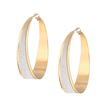 Simple Design Circle Shape Gold and Silver Plated Earrings