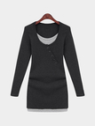 Black Button Front Round Collar Skinny Dress