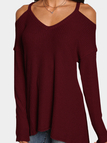 Red Cold Shoulder Long Sleeves Knitted Top