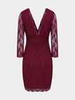 Burgundy Plunge Neck Lace Mini Dress